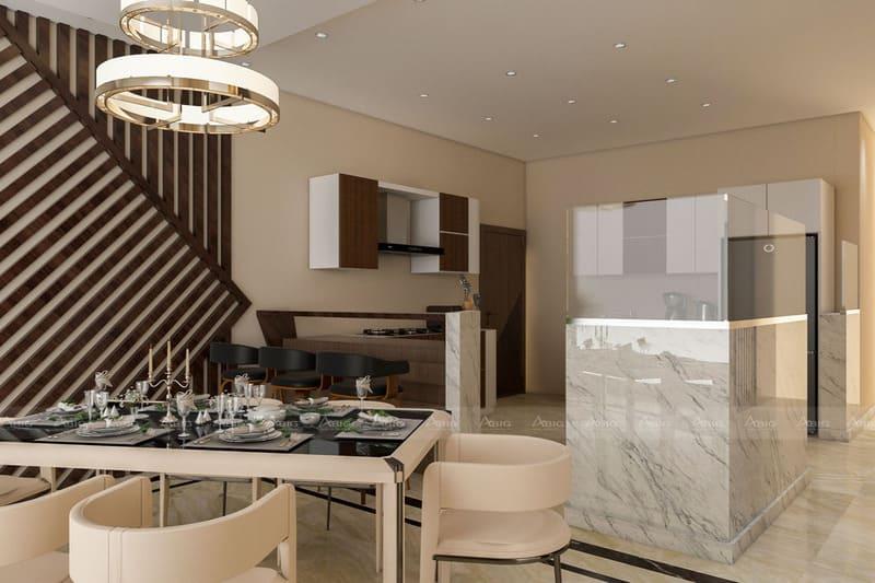 không gian bếp thiết kế tinh gọn nhưng không kém phần tinh tế