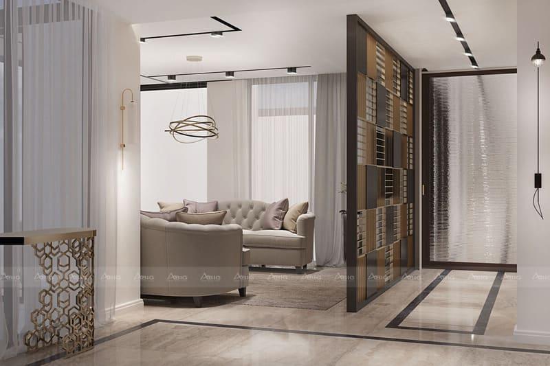 một phần hành lang giữa phòng khách và bếp