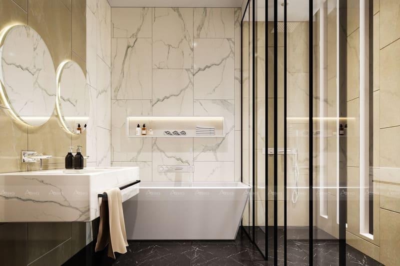 gương soi được đặt đối xứng liền mạch với nhau trong bố trí nhà tắm