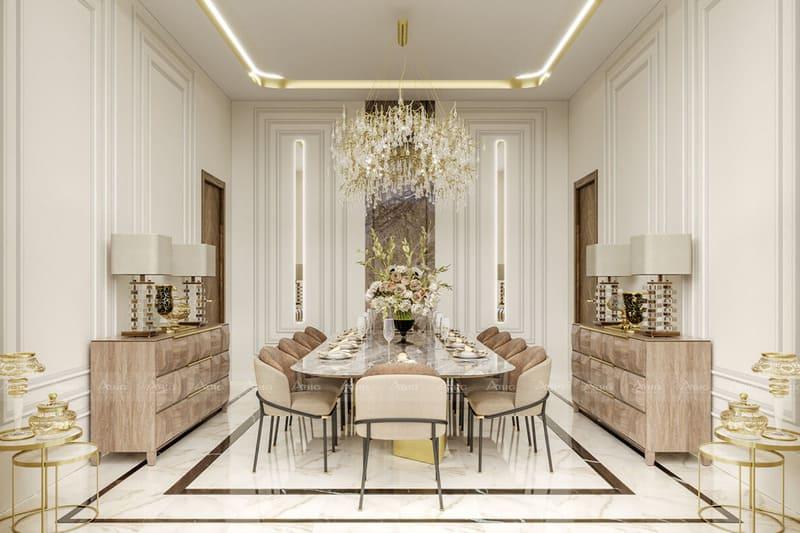 nội thất giống nhau được bố trí đối diện song song trong phong cách kiến trúc đối xứng