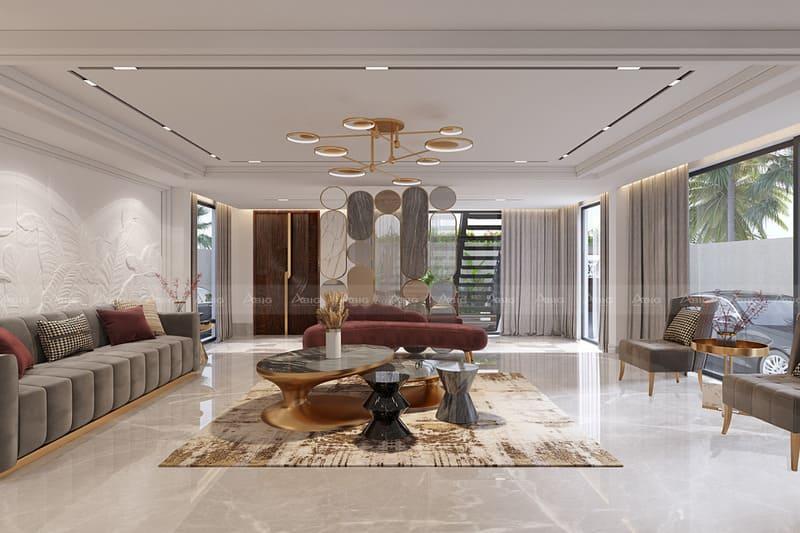 chỉ vàng đồng sáng bóng là đặc điểm dễ nhận thấy ở nội thất phong cách tân cổ điển
