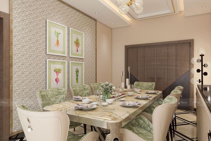 phòng ăn lớn với thiết kế đậm chất hoàng tộc quý phái