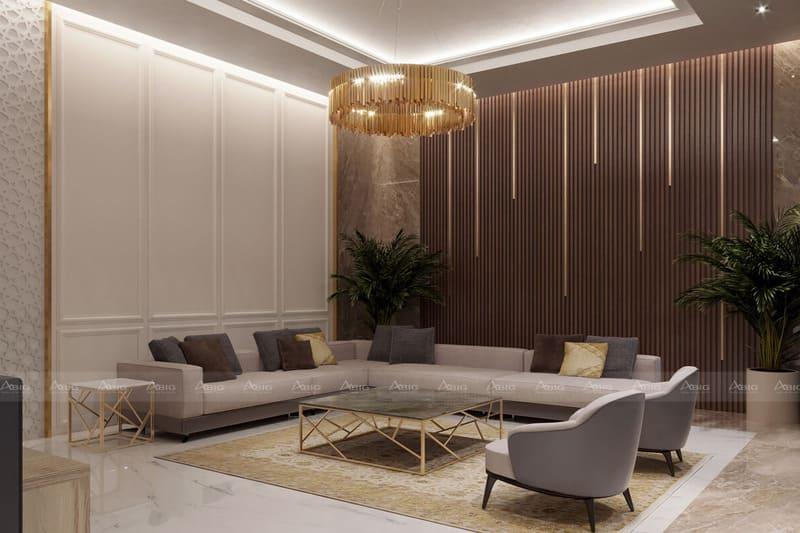 phong cách tân cổ điển đặc trưng với phào chỉ và gỗ tự nhiên bố trí hai bên tường