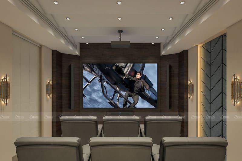 phòng chiếu phim riêng biệt trang bị hệ thống âm thanh tân tiến