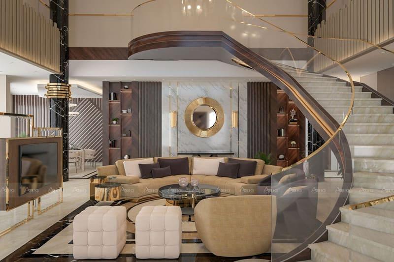 cầu thang uốn lượn đầy mê hoặc giữa phòng khách