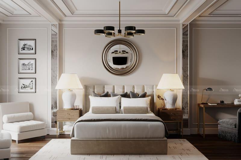 sự kết hợp hài hòa giữa cổ điển và hiện đại trong phối cảnh phòng ngủ