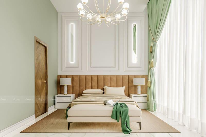 phòng ngủ với phong cách thiết kế tân cổ điển đối xứng