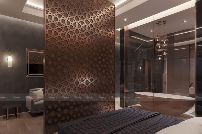 thiết kế phòng ngủ vừa ấm áp, vừa tiện nghi lại thể hiện sự đẳng cấp của gia chủ