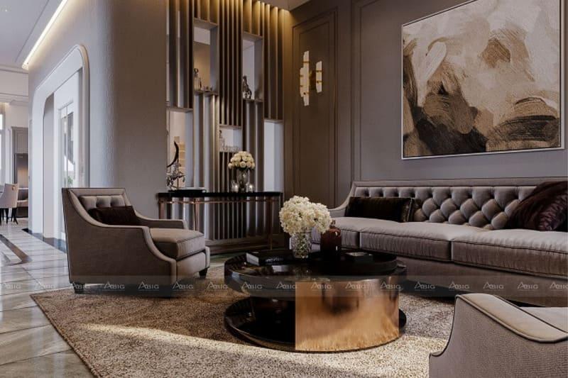 thiết kế nội thất phòng khách biệt thự song lập vinhomes
