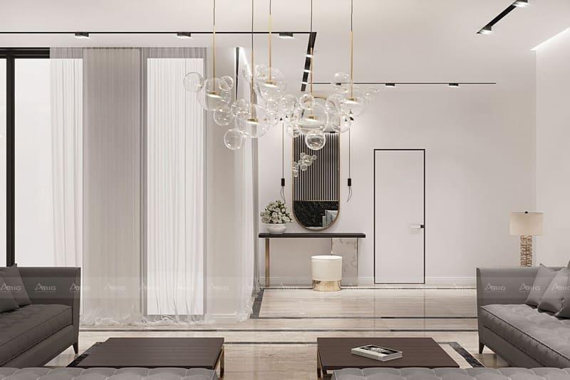 gam màu trắng của trần nhà và tường giúp các nội thất trông bắt mắt hơn