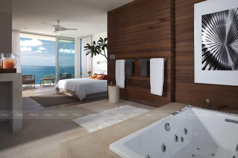 tông màu trắng kết hợp với màu gỗ tự nhiên là điểm nhấn của phong cách thiết kế hiện đại