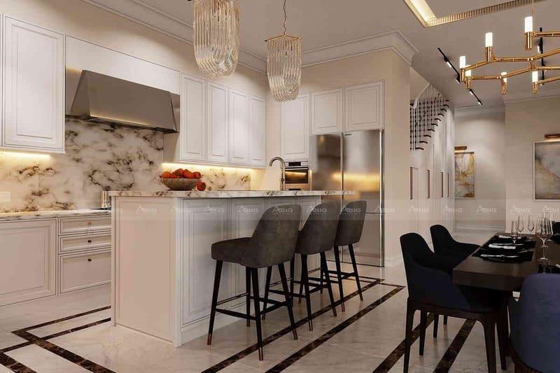 tủ bếp làm từ gỗ tự nhiên với các đường nét họa tiết đặc trưng