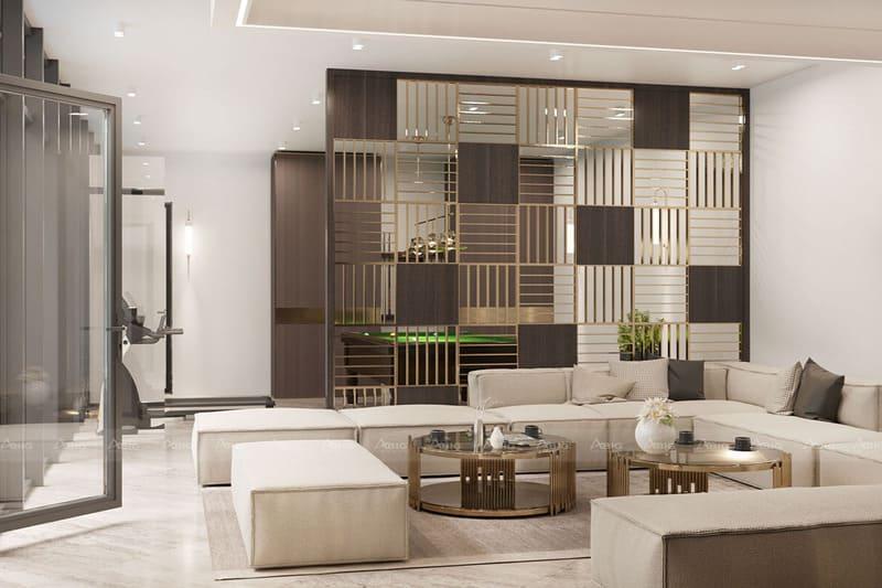 vách ngăn phòng bếp và phòng khách với họa tiết xen kẽ sáng tạo