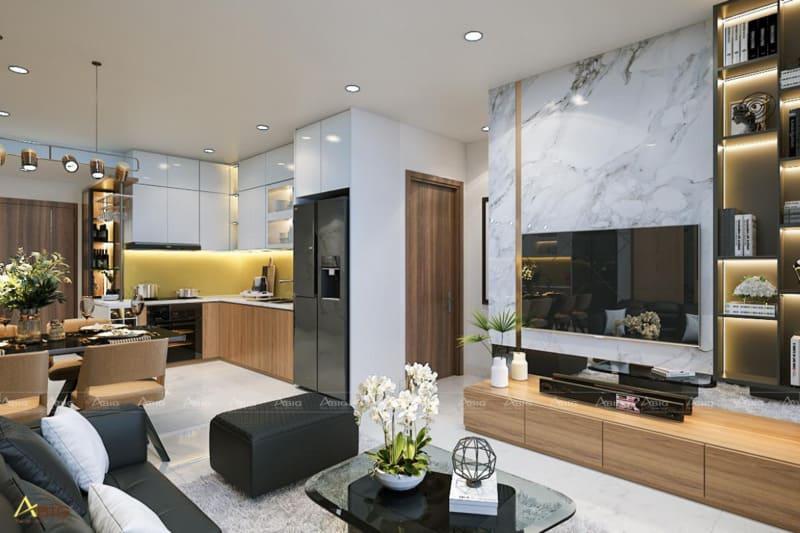 kiến tạo không gian thông suốt giữa các phòng chính trong căn hộ