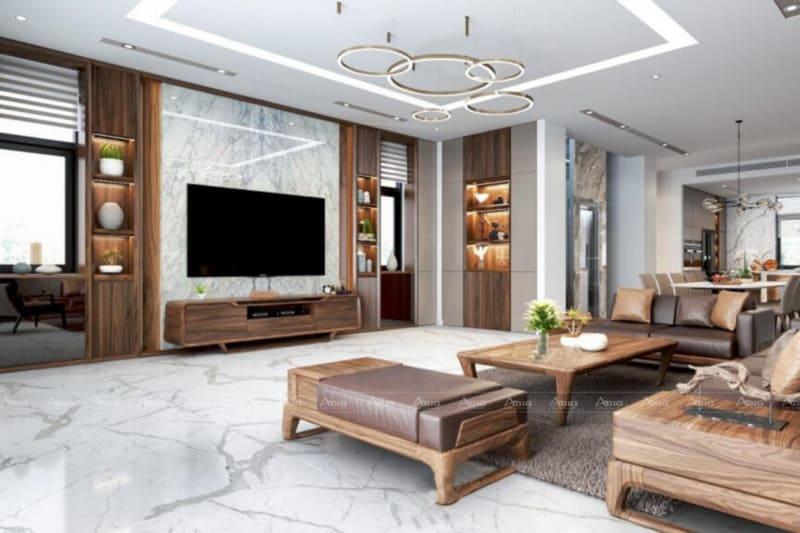kiến trúc sư sử dụng nội thất gỗ tự nhiên trong thiết kế phòng khách chung cư