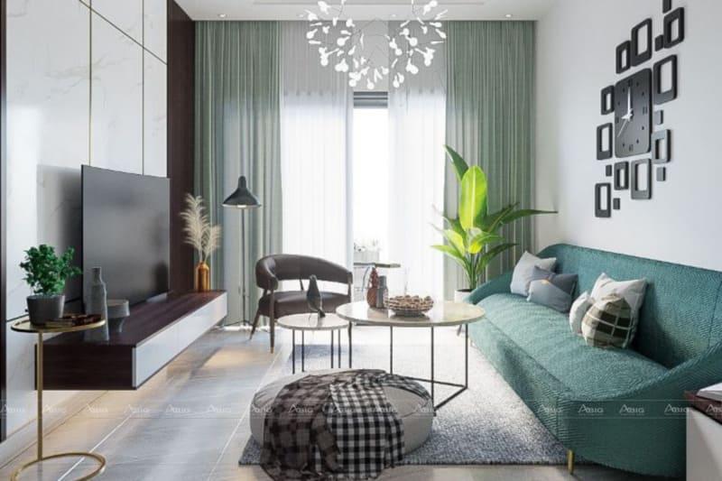 thiết kế phòng khách phong cách hiện đại với màu sắc tươi trẻ nhẹ nhàng