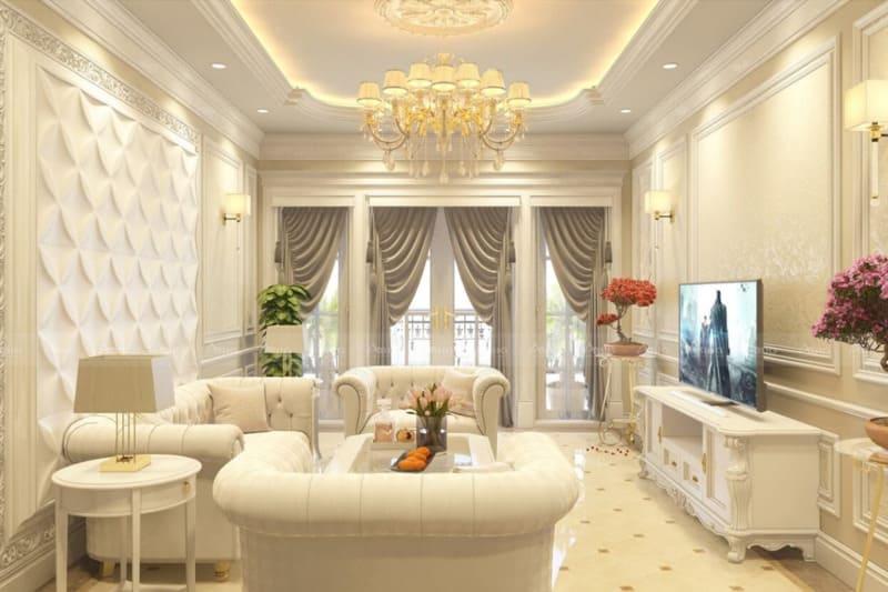 mẫu thiết kế phòng khách chung cư tân cổ điển quý phái
