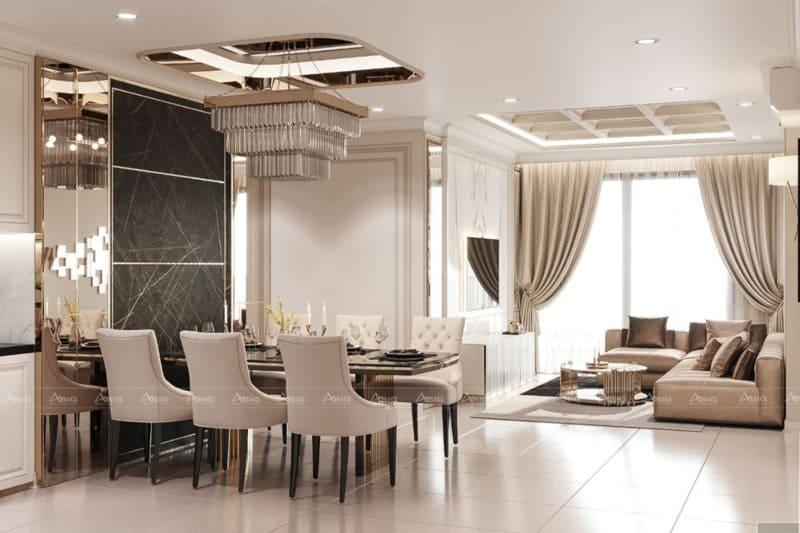 mẫu thiết kế nội thất phòng khách căn hộ chung cư cao cấp palm height