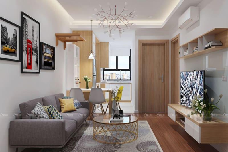 mẫu thiết kế phòng khách chung cư năng động trẻ trung