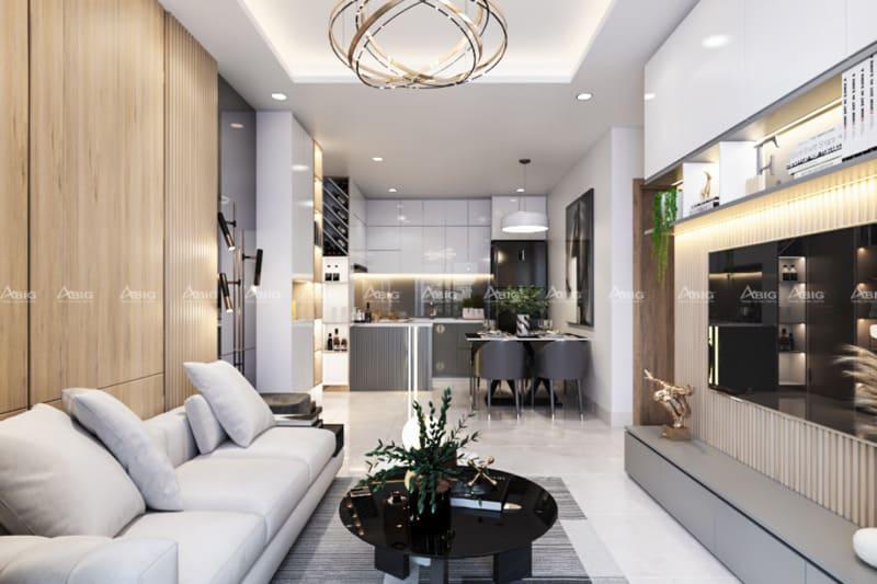 mẫu thiết kế phòng khách căn hộ chung cư hiện đại với tone màu tươi sáng