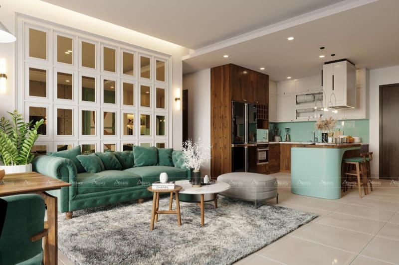 mẫu thiết kế phòng khách chung cư đẹp sang trọng