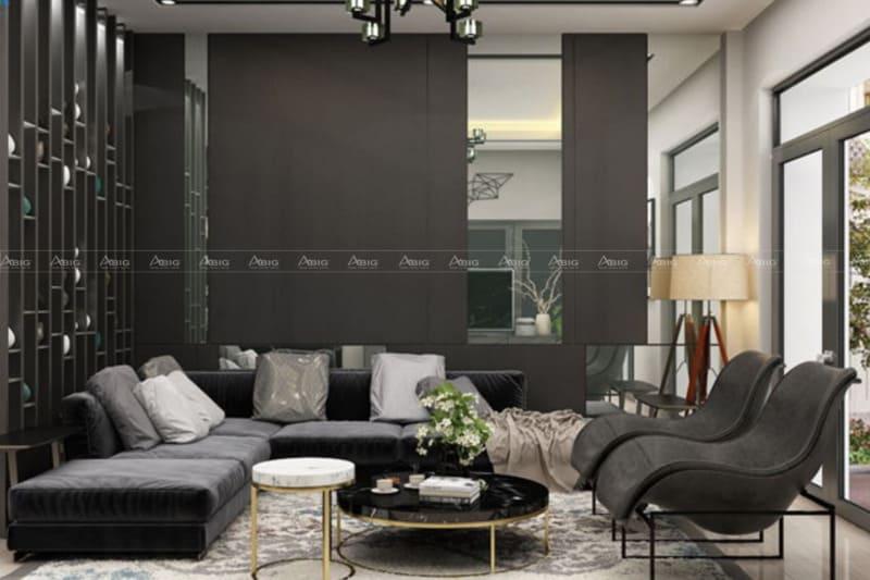 mẫu thiết kế phòng khách chung cư saigon pearl tone màu xám đen