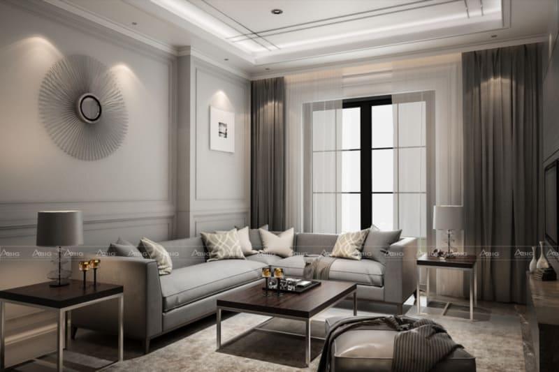 mẫu thiết kế phòng khách phong cách cổ điển cho căn hộ chung cư
