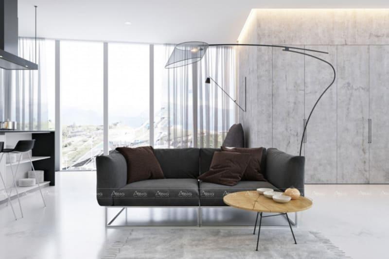 mẫu thiết kế phòng khách tối giản hiện đại cho chung cư