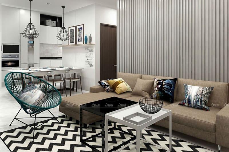 thiết kế phòng khách độc đáo khác biệt cho căn hộ chung cư