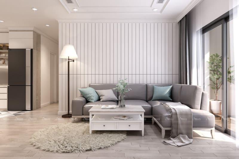 thiết kế phòng khách đảm bảo nguyên lý cân bằng và đối xứng