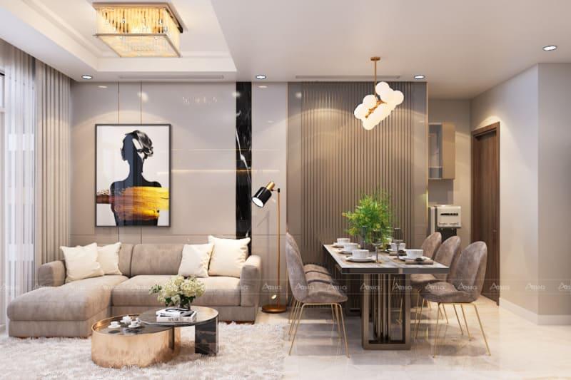 thiết kế nội thất phòng khách căn hộ chung cư saigon pearl
