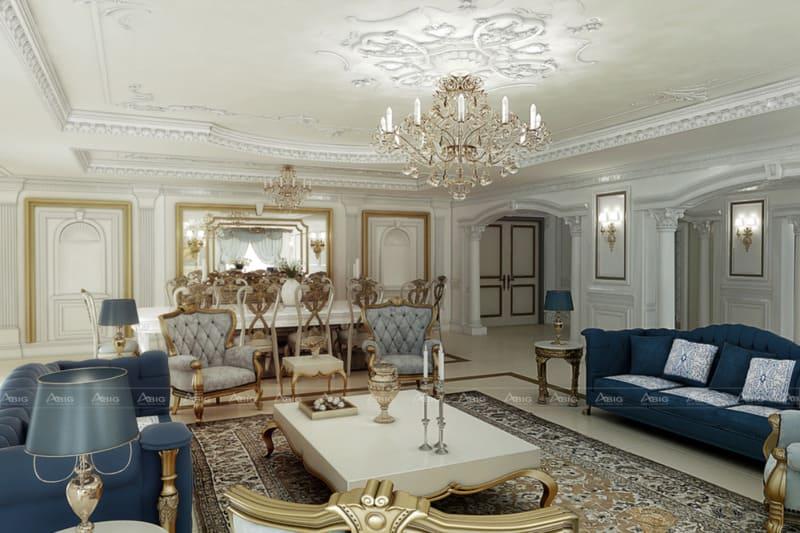 thiết kế nội thất phòng khách chung cư phong cách tân cổ điển