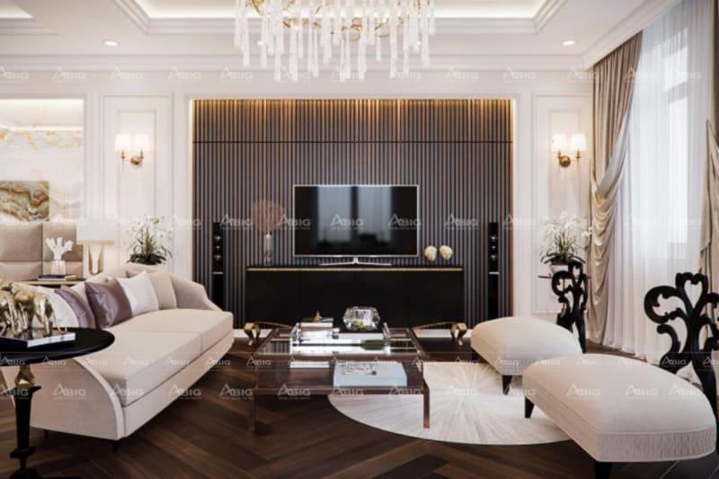 thiết kế phong cách tân cổ điển cho phòng khách chung cư đẳng cấp