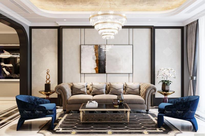 phong cách tân cổ điển đậm chất hoàng gia trong thiết kế phòng khách chung cư