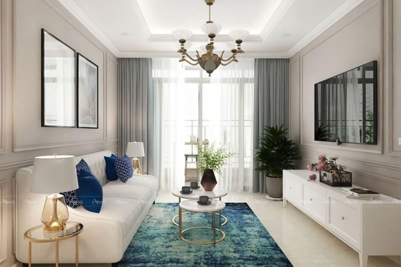 thiết kế phòng khách chung cư phong cách cổ điển sang trọng