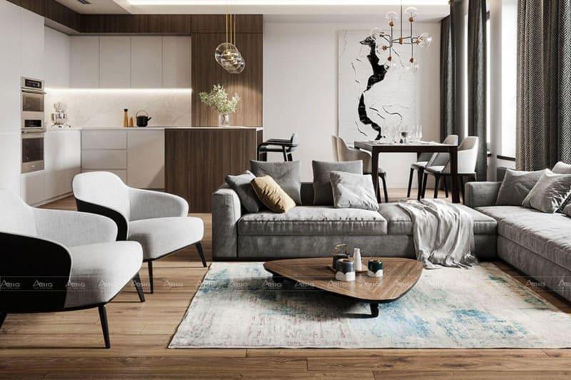 thiết kế phòng khách căn hộ chung cư phong cách tối giản