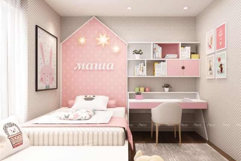 mẫu thiết kế nội thất phòng ngủ dễ thương cho bé gái