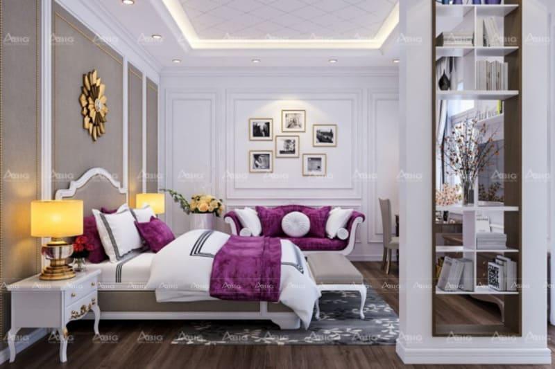 mẫu thiết kế phòng ngủ cho bé gái ở chung cư phong cách tân cổ điển kiêu kì