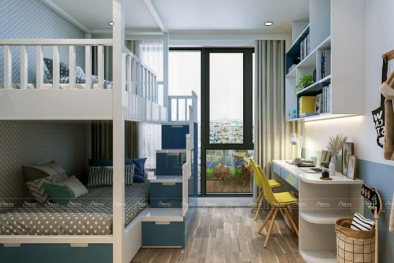 mẫu thiết kế phòng ngủ chung cư cho bé trai lắp đặt giường tầng tiết kiệm diện tích