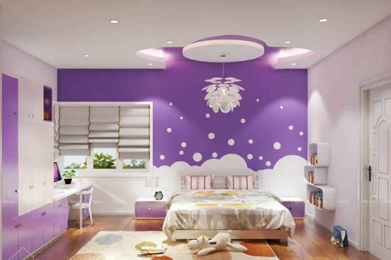 mẫu thiết kế phòng ngủ chung cư xinh xắn cho bé gái