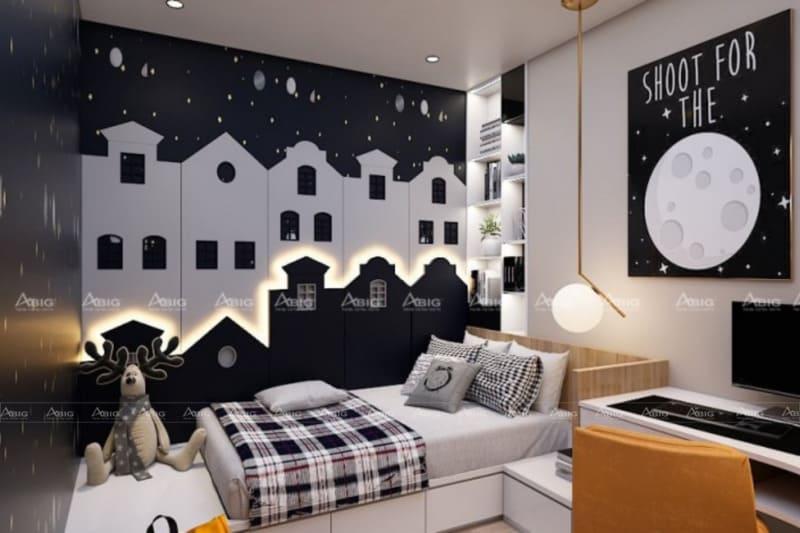 mẫu thiết kế phòng ngủ chung cư cho bé trai cá tính