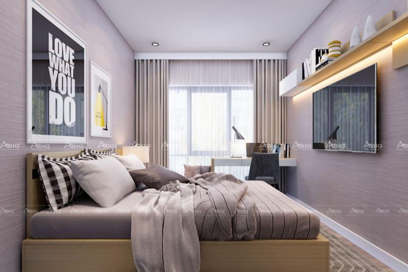 mẫu thiết kế phòng ngủ master chung cư nhỏ gọn tiện lợi