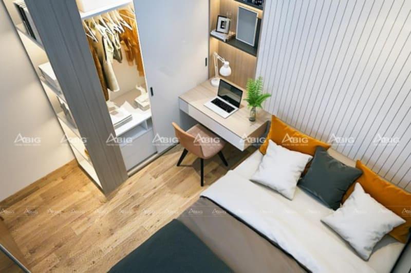mẫu thiết kế nội thất cho phòng ngủ chung cư nhỏ gọn ngăn nắp