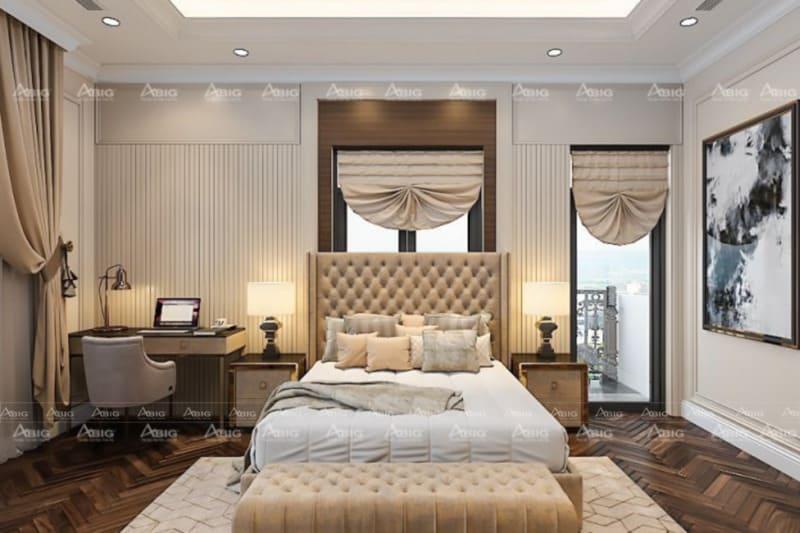 mẫu thiết kế phòng ngủ lớn cho bé trai ở chung cư phong cách tân cổ điển