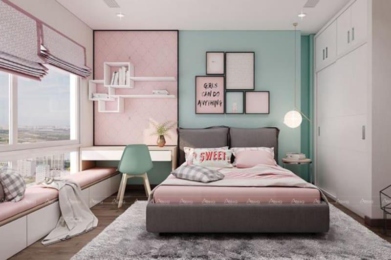 thiết kế nội thất phòng ngủ chung cư cho bé gái