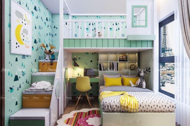 thiết kế nội thất phòng ngủ chung cư cho bé trai