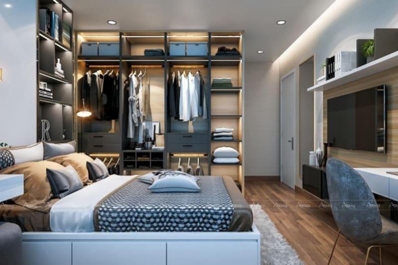 mẫu thiết kế nội thất phòng ngủ master chung cư hiện đại tiện nghi