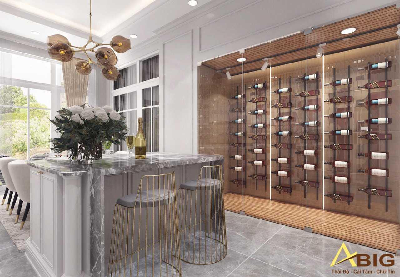 Tủ rượu thiết kế âm tường, vừa sang trọng vừa tiết kiệm diện tích