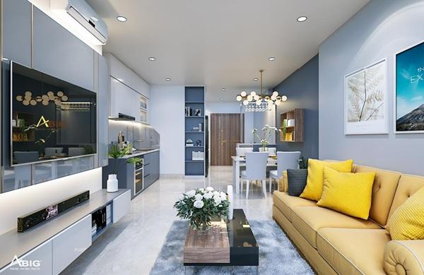 Thiết kế nội thất căn hộ chung cư 3 phòng ngủ với bộ sofa màu vàng làm điểm nhấn