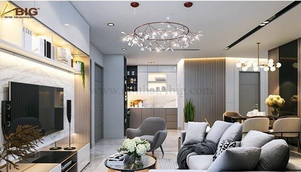 Bạn có thể tận dụng khoảng không gian trống giữa 3 phòng ngủ để làm phòng khách